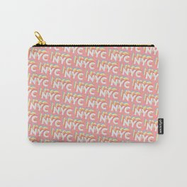 NYC, New York, USA Trendy Rainbow Text Pattern (Pink) Carry-All Pouch