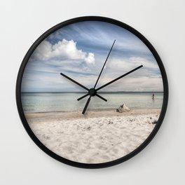 Dream beach Sea Ocean Summer Maritime Navy clouds Wall Clock