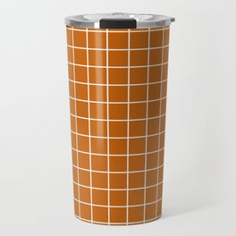 Alloy orange - brown color -  White Lines Grid Pattern Travel Mug