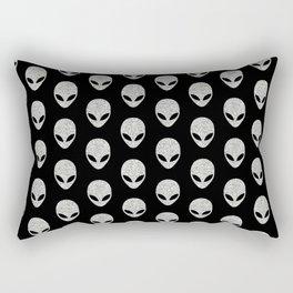 Glitter Grey Aliens Rectangular Pillow