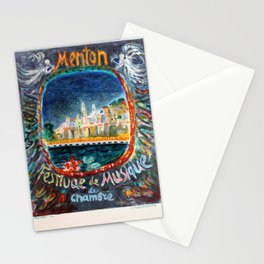 Affiche  Travel Poster Menton French Riviera Terechkovitch Musis Festival Stationery Cards
