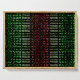 Binary Green and Red With Spaces Serving Tray