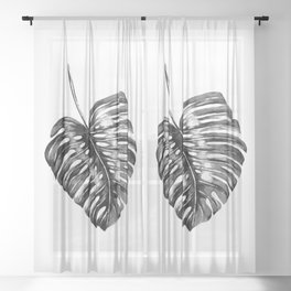 Monstera leaf black watercolor illustration Sheer Curtain