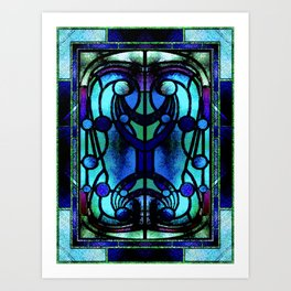 Blue and Aqua Stained Glass Victorian Design Art Print