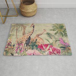 Vintage & Shabby Chic - Tropical Animals And Flower Garden Rug