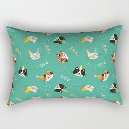 Cat Purr-tay! // Green Rectangular Pillow