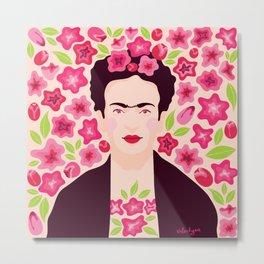 Frida Kahlo in flowers Metal Print