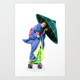 Walking to Color. Art Print