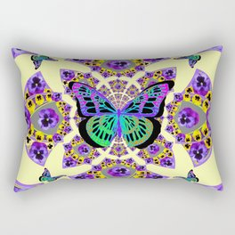PURPLE  PANSIES & EXOTIC BUTTERFLY GEOMETRIC DESIGN Rectangular Pillow
