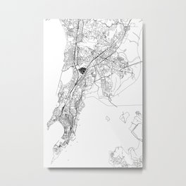 Mumbai White Map Metal Print