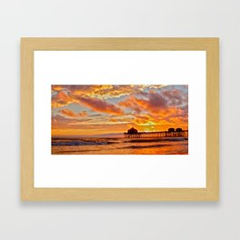 California Dreaming (cropped) ~ Huntington Beach Pier Framed Art Print