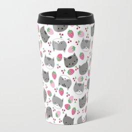 Meow cat love to eats strawberry & cherry Travel Mug