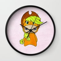 mlp Wall Clocks featuring A Boy - Applejack by Christophe Chiozzi