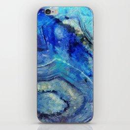 Blue agate texture digital art iPhone Skin