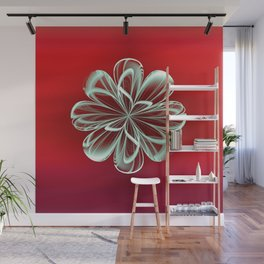 Cyan Bloom on Red Wall Mural