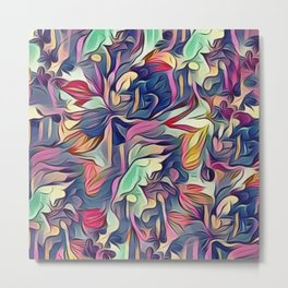 Midnight Floral Abstract Metal Print