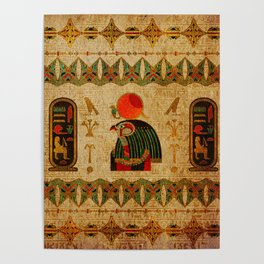 Egyptian Horus Ornament on Papyrus Poster