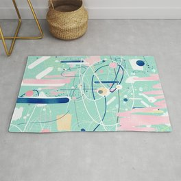 Modern mint strokes and dots creative art Rug