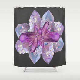 DRUZY QUARTZ & PURPLE AMETHYST CRYSTALS FEBRUARY GEMS Shower Curtain