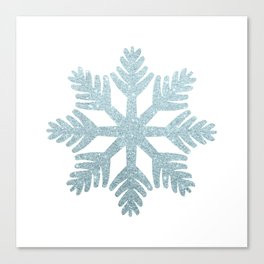 Blue Glitter Snowflake Canvas Print