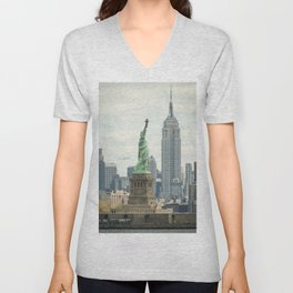 New York cityscape with Empire State and Statue of Liberty Unisex V-Neck