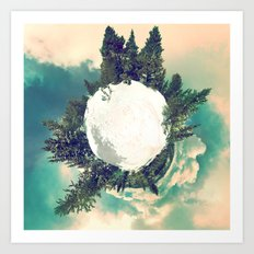 Tiny Snowy Forest Planet Art Print