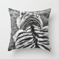calvin and hobbes Throw Pillows featuring Hobbes.  by calvin./CHANCE