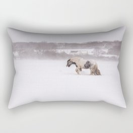 Lonely horse in the snow Rectangular Pillow