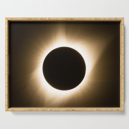 Totality - 2017 Total Solar Eclipse with Golden Corona Serving Tray