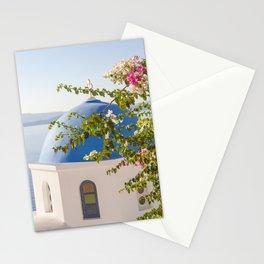 Flowers in Santorini Island, Greece Stationery Cards