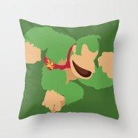donkey kong Throw Pillows featuring Donkey Kong(Smash)Green by ejgomez