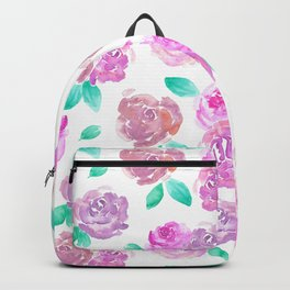 Purple and Pink Watercolor Roses Floral Pattern Backpack