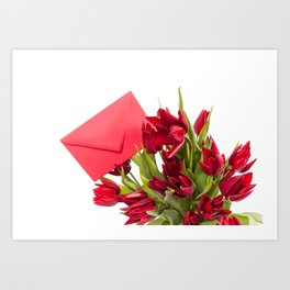 Tulips bouquet with red envelope Art Print