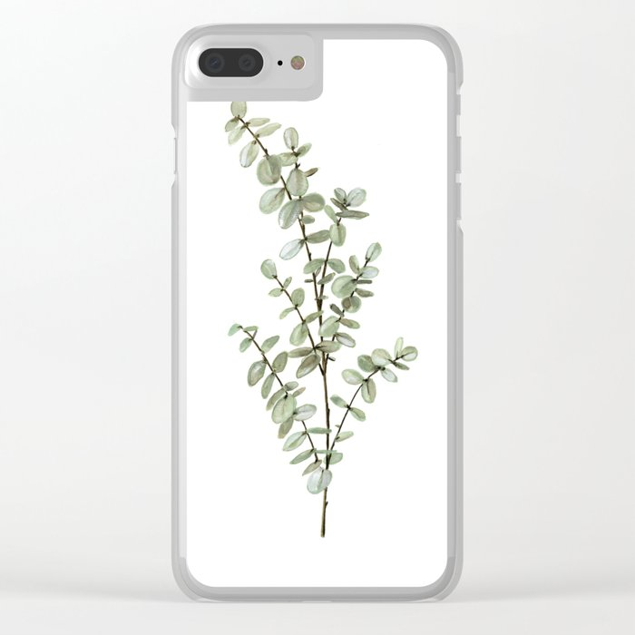 Baby Blue Eucalyptus Watercolor Painting Clear iPhone Case