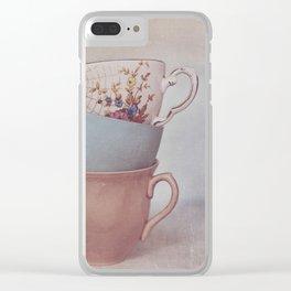 Vintage teacups Clear iPhone Case