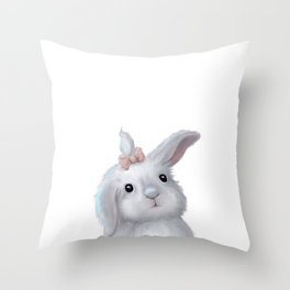 White Rabbit Girl isolated Throw Pillow