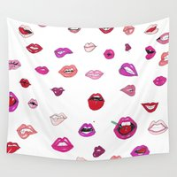 lip Wall Tapestries featuring Lip Service by Gemma Roe