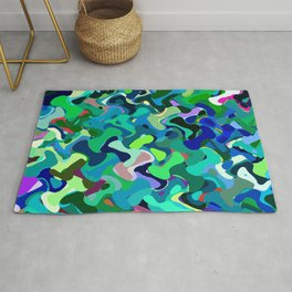 Deep underwater, abstract nautical print in blue shades Rug