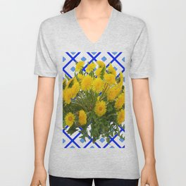 Yellow Blooming Dandelion Flowers On Delft Blue Tile Unisex V-Neck