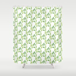 green watercolor vines Shower Curtain