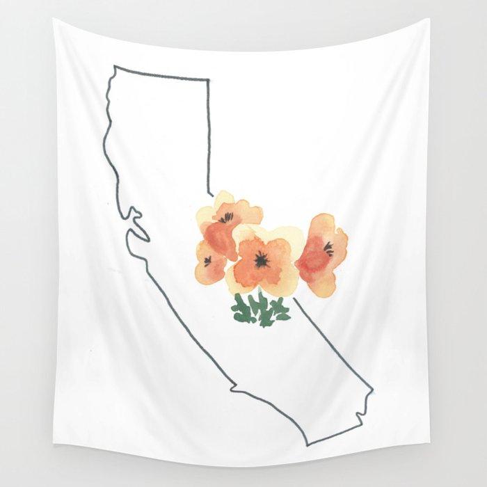 California watercolor california poppy state flower map wall california watercolor california poppy state flower map wall tapestry mightylinksfo