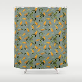 Falling Leaves and Petals Vintage Style Collage Seamless Pattern Shower Curtain