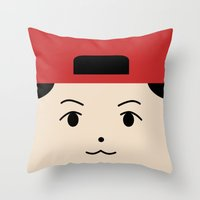 exo Throw Pillows featuring Baekhyun EXO Mascot by teawithgodot
