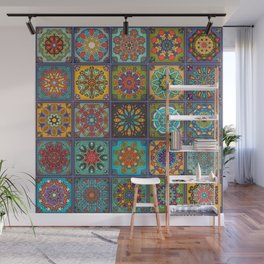 Vintage patchwork with floral mandala elements Wall Mural