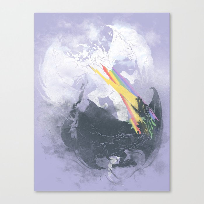 Clash of the sky Dragons Canvas Print