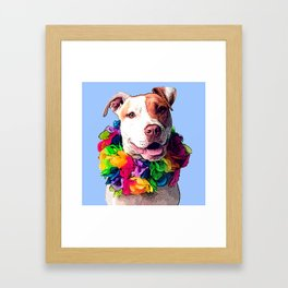 Dog in Flowers Framed Art Print