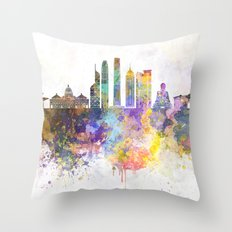 Hong Kong V2 skyline in watercolor background Throw Pillow