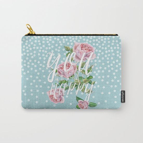 You are my happy- Roses Rose Flowers Polkadots - Vintage Design Carry-All Pouch