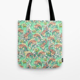 Golden Koi Fish in Pond Tote Bag