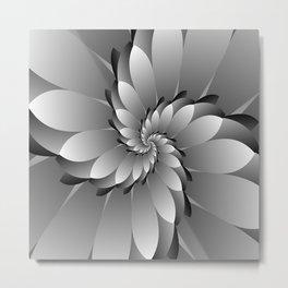 3D Floral Spiral Art Metal Print